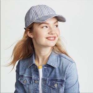 Madewell textured blue white striped baseball cap